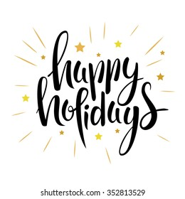 hand drawn Happy holidays  lettering