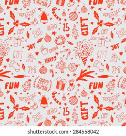 hand drawn happy new year doodle background pattern