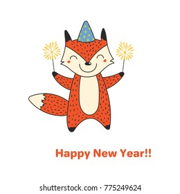 Hand drawn Happy New Year greeting card with cute funny cartoon fox with sparklers, typography. Isolated objects on on white background. Vector illustration. Design concept party, celebration