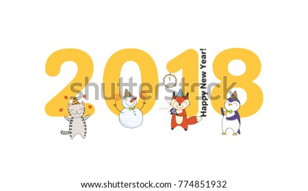 Hand Drawn Happy New Year 2018 Stock Vector (Royalty Free) 774851932 ...