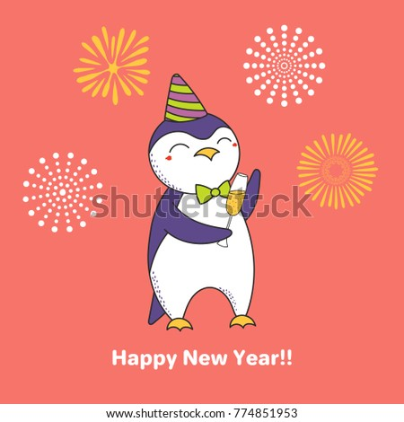 Hand drawn happy new year greeting stock vector royalty free hand drawn happy new year greeting card with cute funny cartoon penguin with a glass of m4hsunfo