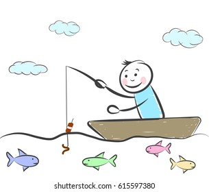 hand drawn happy people fishes and Catches fish sitting in a boat.  Doodle miniature scenes. Hand drawn vector illustration for web design and infographic.