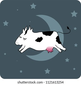 Hand drawn happy but sleepy cow jumpin over the moon