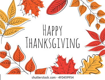 Hand drawn Happy Thanksgiving Day Background. Vector illustration.
