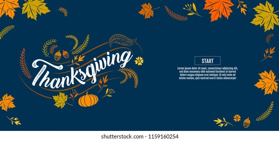 Hand drawn Happy Thanksgiving typography poster. Celebration text , icon or badge. Vector calligraphy lettering