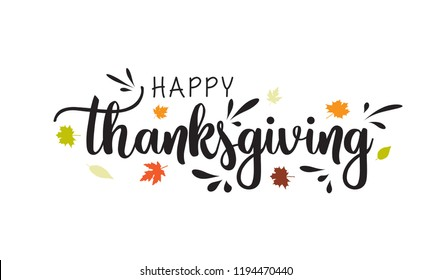 Hand drawn Happy Thanksgiving typography poster. Celebration text with berries and leaves for postcard. Vector calligraphy lettering holiday quote