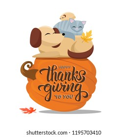 Hand drawn Happy Thanksgiving to you typography poster with flat cartoon vector illustration cat sleeps comfortably on dog, hamster sleeps on cat. Full animals sleep on a large pumpkin