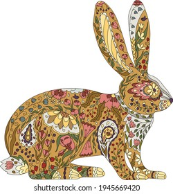 Hand drawn hare with abstract floral ornament. Vector ethnic rabbit decorated with flowers. Zentangle animal. Multicolor stylized animal