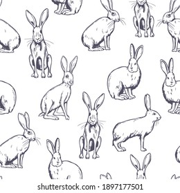 Hand drawn hares on white background. Vector seamless pattern