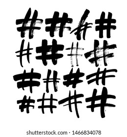 Hand drawn hashtag signs isolated on white background. Trendy grunge communication sign for logo, blog, social network, internet application. Ink vector illustration. Clip art for social media.