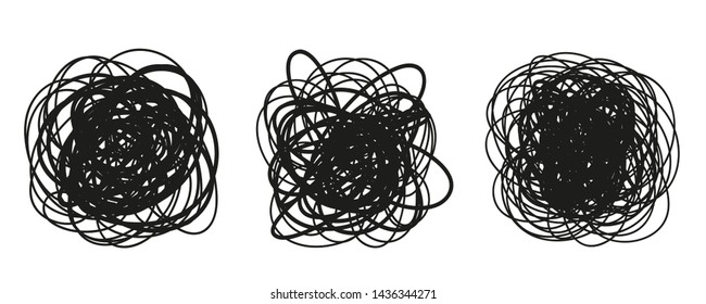 Hand drawn hatching shapes on isolated white background. Wavy tangled doodles. Black and white illustration
