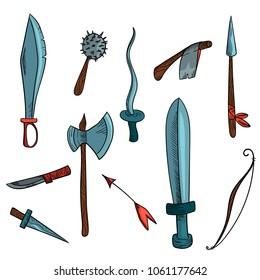 Hand drawn hatching weapon set. Big sword, rapier, mace, axe, bow + arrow, dagger, knife. Eleven objects. Cartoon style.