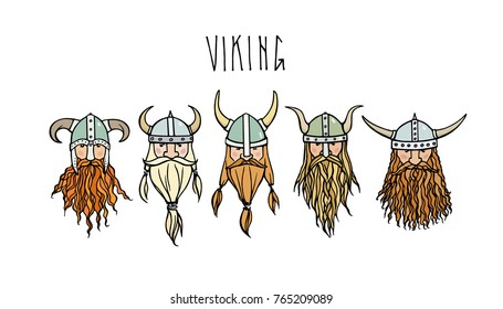 Hand drawn heads of bearded viking with helmets on. Vector illustration of northern rough warriors. Heavy contour, graphic style.