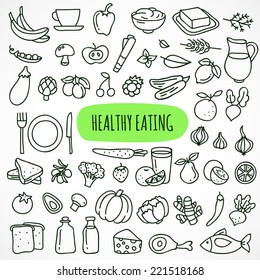 Hand drawn healthy eating icons