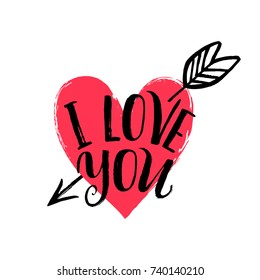 Hand drawn heart with arrow. Hand written phrase I love you. Vector Valentine's day card.