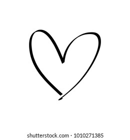 Hand drawn heart. Brush, ink. Decor element. Valentine's day card, pattern element and love symbol. Vector, clip art.