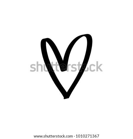 Hand Drawn Heart Brush Ink Decor Stock Vector Royalty Free