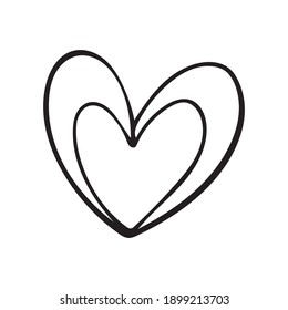 Hand drawn heart, Design elements for Valentine's day, Hand drawn hearts isolated on white background, Vector illustration for your graphic design, EPS.10
