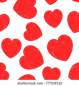 Hand drawn heart icon seamless pattern background. Business flat vector illustration. Love Valentine's Day sign symbol pattern.