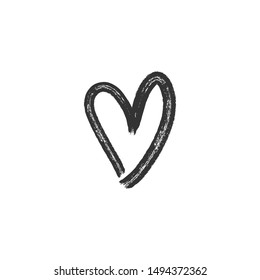 Hand drawn heart illustration. Love symbol doodle. Grungy brush stroke for valentine's day.