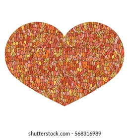 Hand drawn heart Isolated on white background. Love image. Doodle Cute heart with mosaic pattern in orange colors. Template for card, prints, poster, souvenirs. Design element for Valentine's Day.