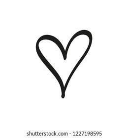 Hand drawn heart, love symbol, expressive shape. Vector illustration