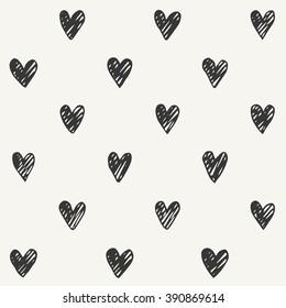 hand drawn heart pattern design. vector illustration