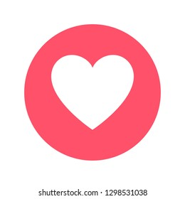 Hand drawn heart in red circle. Social media reaction. Vector illustration.