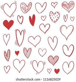Hand drawn heart set - doodle vector heart shapes.