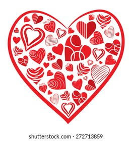 Hand drawn Heart Shapes vector illustration with white background.