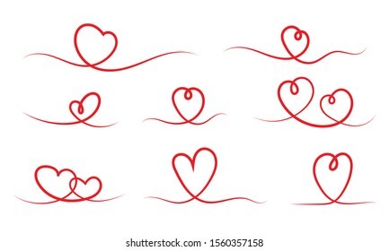 Hand drawn heart symbol set. Doodle love sign. Continuous line drawing