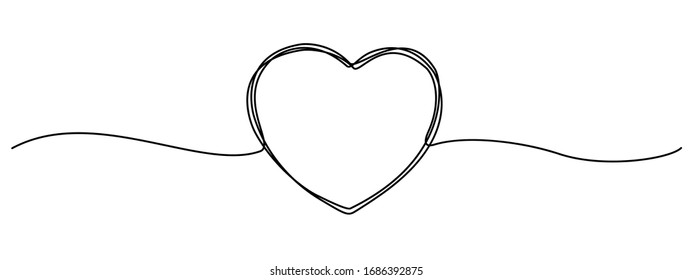 Hand drawn heart in thin line isolated, heart sketch doodle, scribble shape design for greeting invitation, wedding love, valentines, women, mother day, birthday or charity - stock vector
