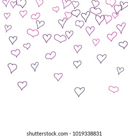 Hand drawn hearts. Background.  Cute simple pattern with falling hearts for cards, posters, banners, Valentine decoration. Vector holiday background. Romantic love motif. Falling confetti.