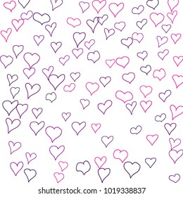 Hand drawn hearts. Background.  Lovely simple pattern with falling hearts for cards, posters, banners, Valentine decoration. Vector holiday background. Romantic love motif. Falling confetti.