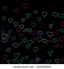 Hand drawn hearts. Background.  Pretty simple pattern with falling hearts for cards, posters, banners, Valentine decoration. Vector holiday background. Romantic love motif. Falling confetti.