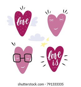 Hand drawn hearts characters. Set of 4 icons with design elements