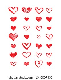 Hand drawn hearts. Design elements for Valentine's day, Birthday invitation, Greeting card and other. Romantic vector illustrations.