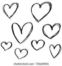 Hand drawn Hearts in Doodle Marker Style Vintage