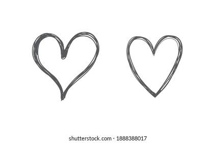 Hand drawn hearts. Heart doodle illustration set.