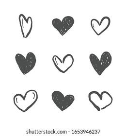 Hand drawn hearts. Love heart illustration doodles.