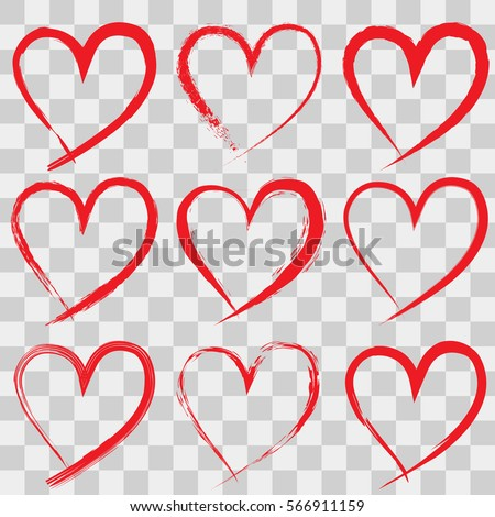 Hand Drawn Hearts On Transparent Background Stock Vector Royalty