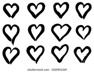 Hand drawn hearts set. Love symbol with dry brush painting, isolated.