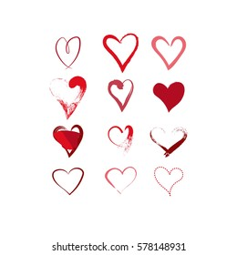 hand drawn hearts set. red heart icons. love symbols. vector design elements