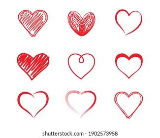 Handgezeichnete Herzen Set.  Vektorgrafik