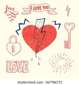 Hand drawn hearts set. Vector illustration