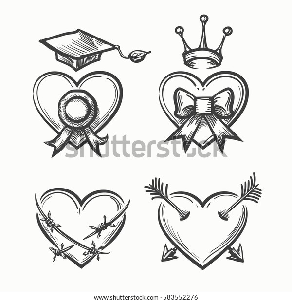 ce45f8ce47dc9 Hand drawn hearts in tattoo sketch style. Heart with crown and arrow, bow  and
