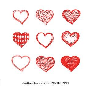 Hand drawn hearts.  Valentine's day.