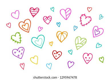 Hand drawn hearts. Valentines Day vintage background. Hand drawn illustration.
