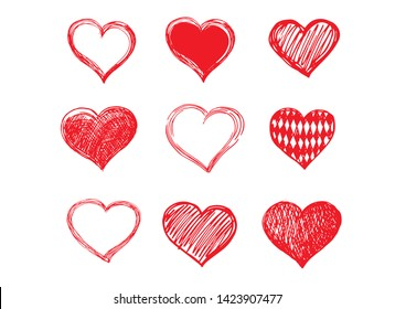 Hand drawn hearts. Valentine's day. Vector illustration of red hearts.