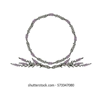 Hand drawn heather wreath and laurel made in vector. Beautiful floral design element.
